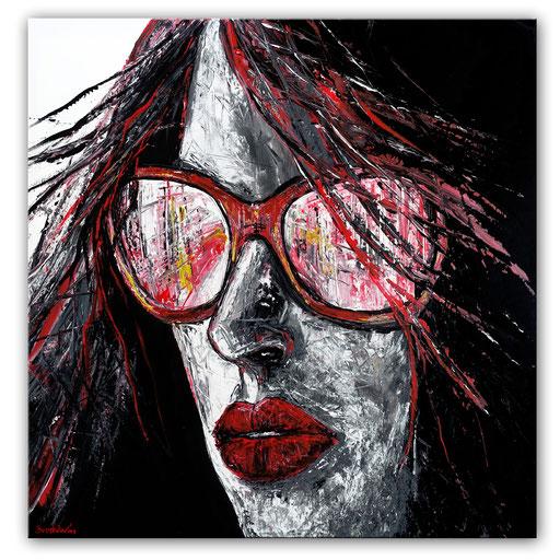 P 64 - Porträt Gesichter Malerei - Frau mit Brille