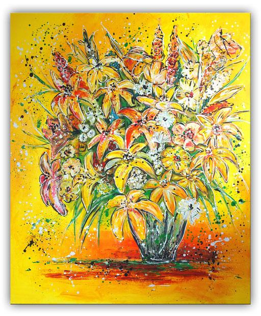 B 62 - Blumenstrauß Lilien Blumen Malerei Acryl auf Leinwand 100x120