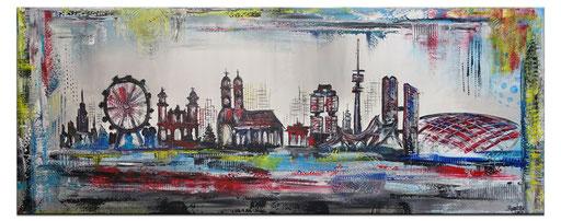 S 77 - Malerei Bild Wandbild München Skyline abstrakt