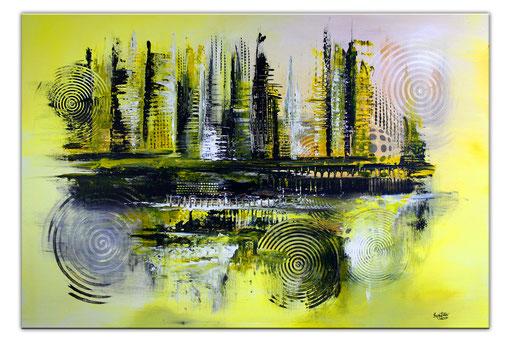 245 Verkaufte abstrakte Malerei gelb grau schwarz