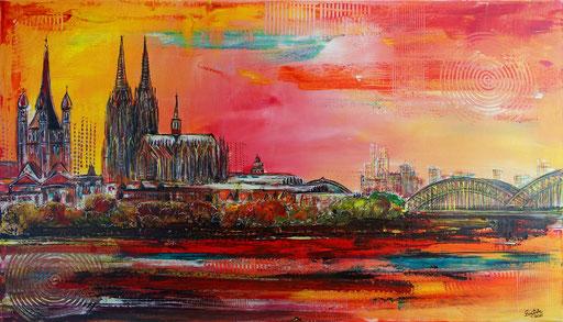 S 89 -  Malerei Bild Wandbild Kölner Skyline abstrakt