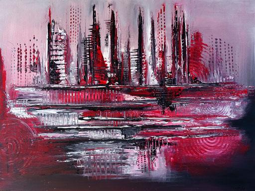 260 Verkaufte abstrakte Malerei rot grau lila silber bild querformat