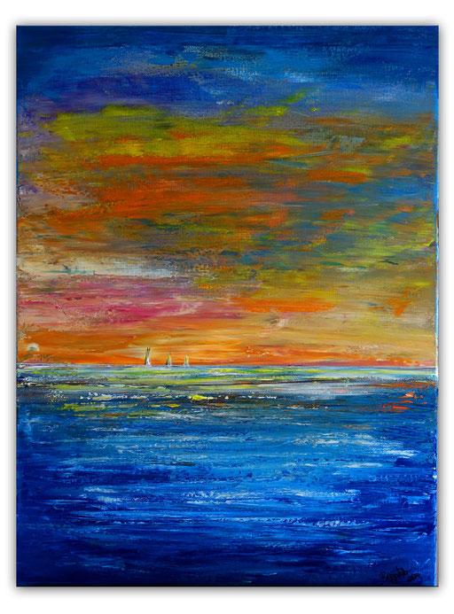 L 27 Segelboote im HOrizont Gemälde