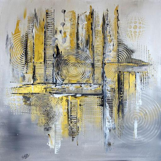 166 Verkaufte Bilder abstrakt - Malerei Silber Gold
