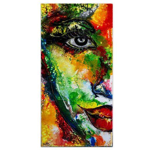 P120 Porträt Malerei Fluid Art Pouring Frauen Gesichter