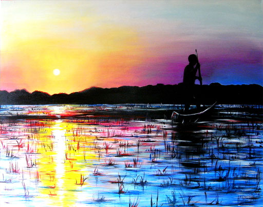 L 14 - Landschaftsbilder Gemälde - Fluss Afrika Sonnenuntergang