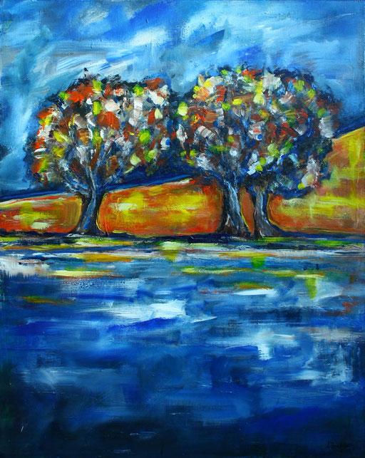 L 22- Landschaftsbilder Baum abstrakt gemalt bunt