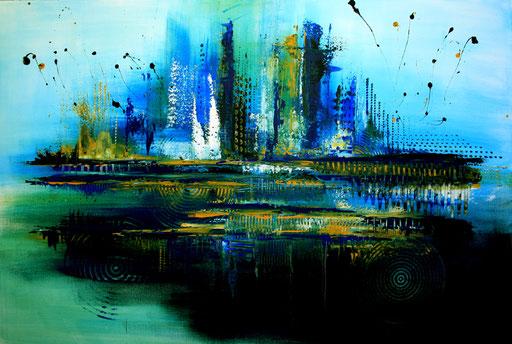 16 Handgemaltes Unikat abstrakt - Atlantis - türkis blau