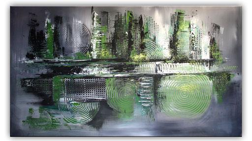 83 abstraktes Unikat handgefertigt - Grüne Zukunft - grau weiß
