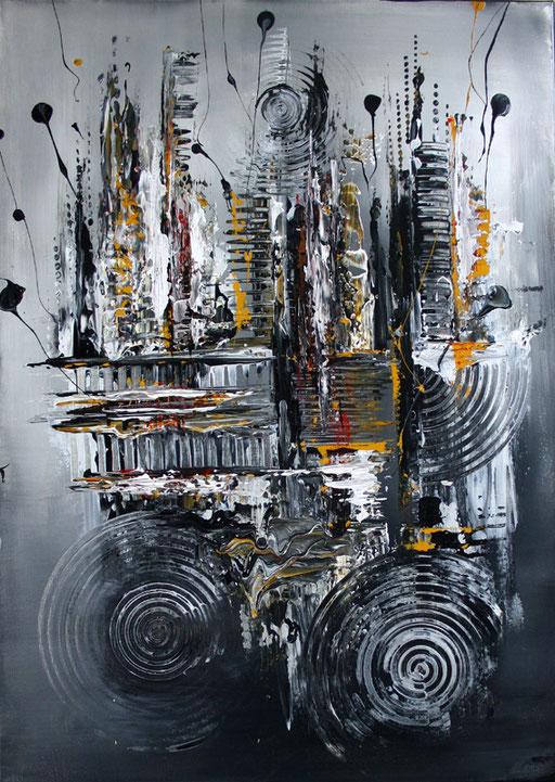 156 Verkaufte Bilder abstrakt - Schwarz grau gold