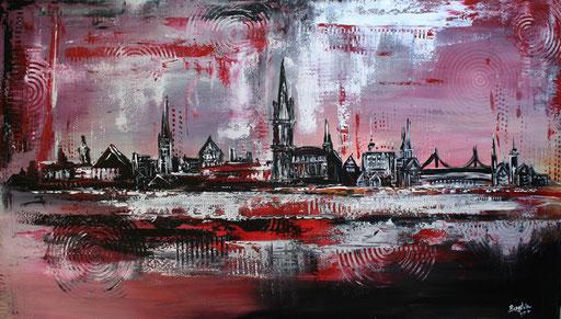 S 31 - Stadtbilder auf Leinwand - Ulm Skyline rot grau