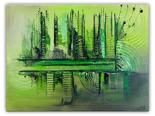 290 - Abstrakte Gemälde Verkauft - Im Urwald grün 80x100