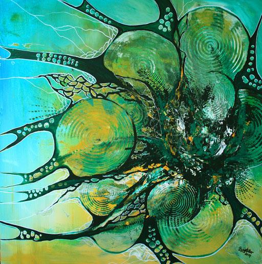 139 Verkaufte abstrakte Bilder - Pfau gemalt - türkis grün gelb