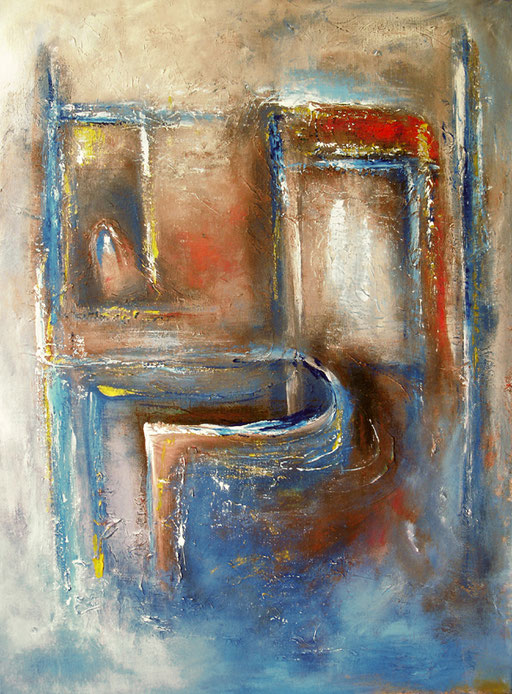 47 Kunst Unikat abstrakt - Erscheinung - blau gelb orange