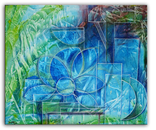 B 78 - Eisblume Blumen Malerei 50x60