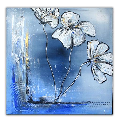 B 33 - Blumenbilder auf Leinwand - Dancing Flowers Sonnehut blau