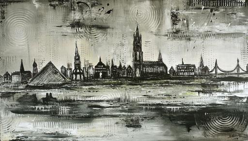 S 32 - Stadtbilder auf Leinwand - Ulm Skyline grau