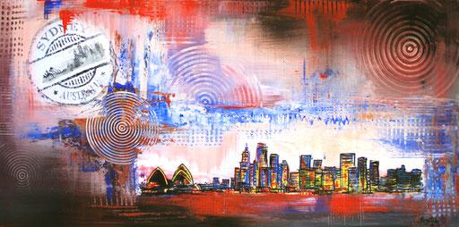 S 27 - Stadtbilder auf Leinwand - Sydney rot