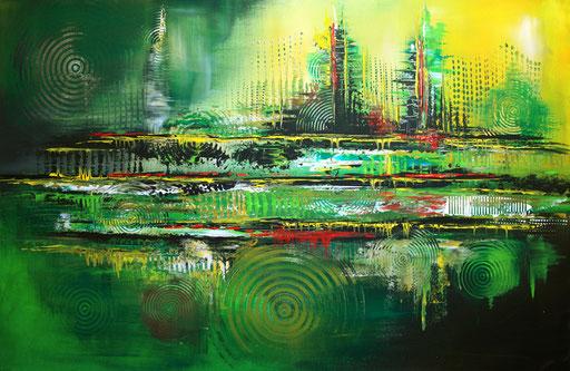 185 Verkaufte Bilder abstrakt - Symbiose gemalt - grün gelb rot