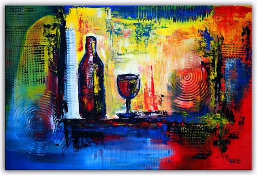 237 Verkaufte abstrakte Malerei Weinflasche Weingläser Wein Auftragsmalerei