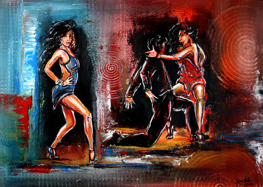 S 9 - Wandbild Tanzpaar - Tanz Gemälde Tänzer - Pasa Doble