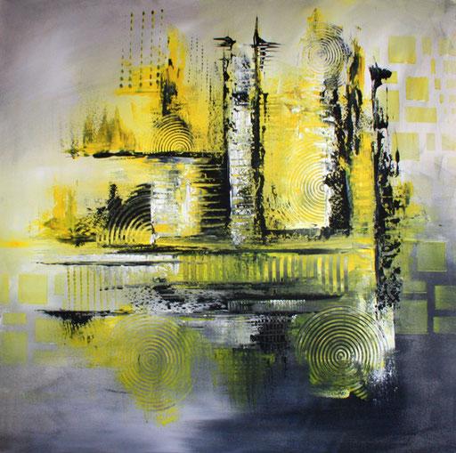 100 Verkaufte abstrakte Bilder - Izamal - gelb grau