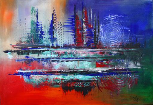37 Kunst Unikat abstrakt - Distanz - blau rot