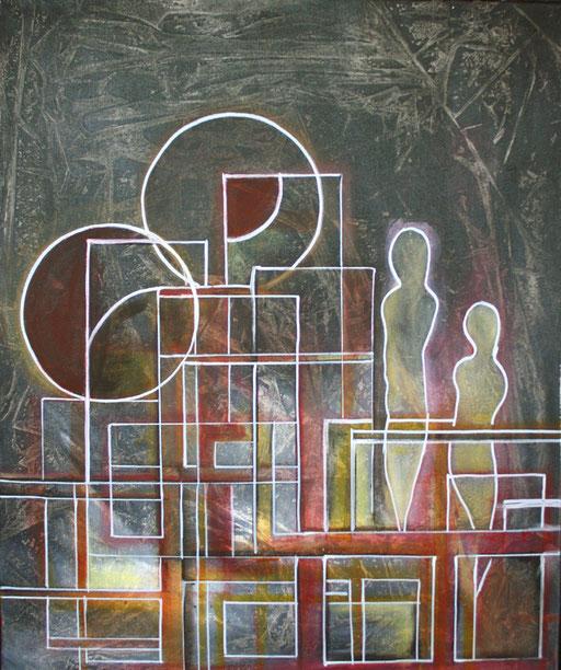 126 Verkaufte abstrakte Bilder - Nachtschatten - grau rot gold ocker