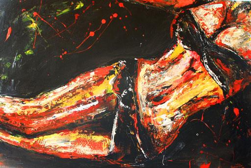 E 12 - Erotik Bilder Acryl - schwarz rot gold