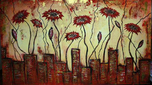 B 12 - Blumenbilder auf Leinwand - rote Kornblumen
