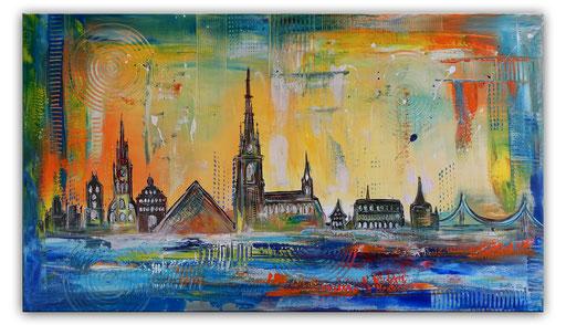 S 92 - Malerei Bild Wandbild Ulmer Münster Skyline abstrakt