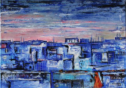 103 Verkaufte abstrakte Bilder - Jaipur - blau