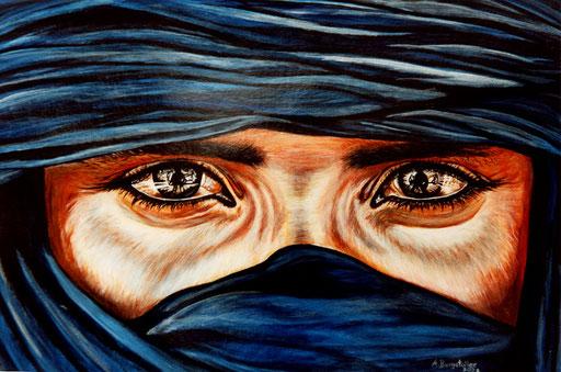 P 61 - Porträt Gesichter Malerei - Tuareg blau
