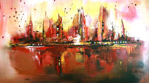 30 Handgemaltes Unikat abstrakt - Citylife - braun rot gelb grau