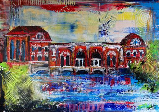 S 95 - Malerei Bild Wandbild Wasserwerk Langweid Lech abstrakt