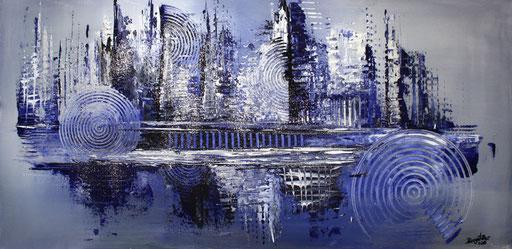 46 Kunst Unikat abstrakt - Eiszeit - blau silber grau