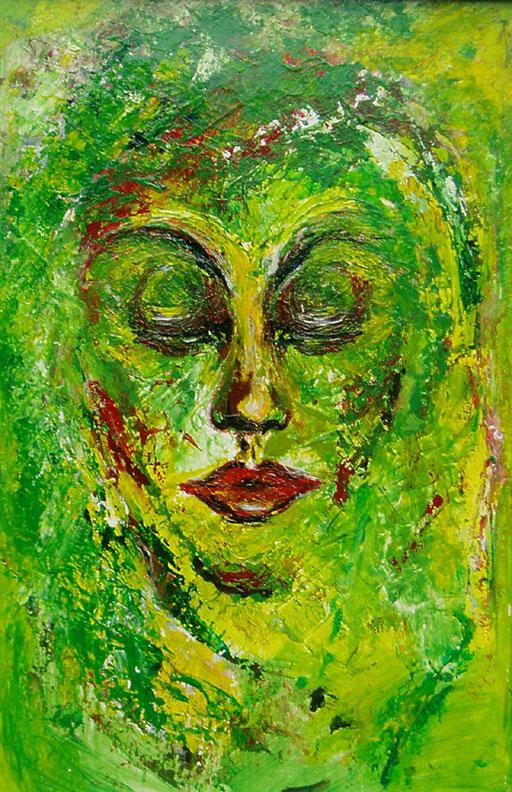 F 39 - Figuerliche Malerei - Figurative Wandbilder -  Grüne Maske