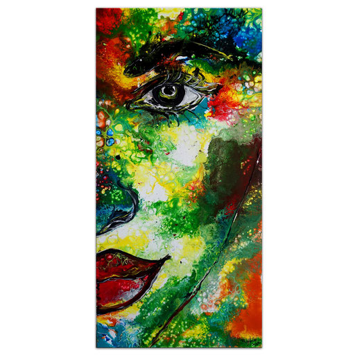 P121 Porträt Malerei Fluid Art Pouring Frauen Gesichter