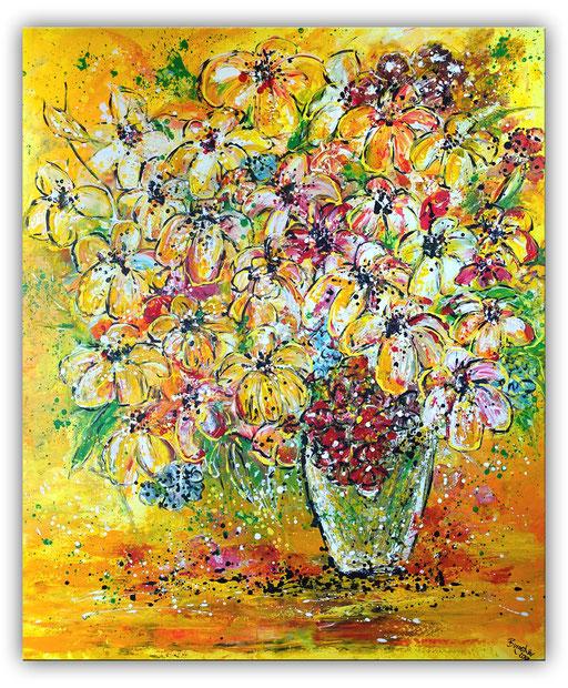 B 63 - Blumenstrauß 2 Lilien Blumen Malerei Acryl auf Leinwand 100x120