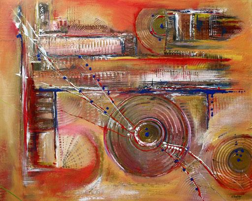 197 Verkaufte abstrakte Malerei - Uhrwerk gemalt braun