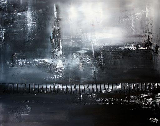 18 Handgemaltes Unikat abstrakt - Barriere - grau schwarz weiß