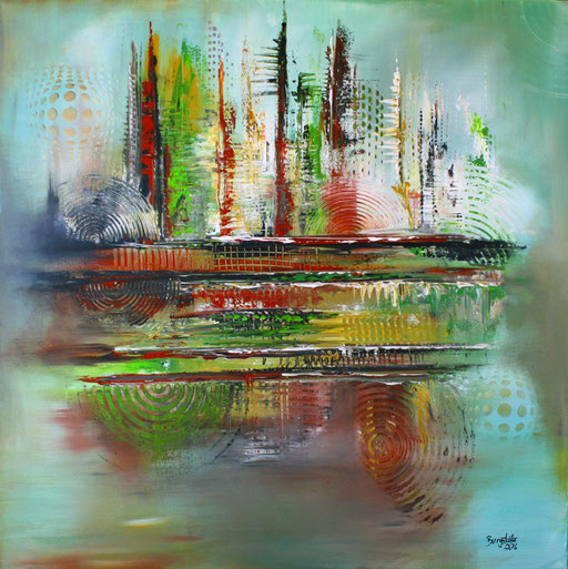 119 Verkaufte abstrakte Bilder - Mirage - Skyline Bild gemalt