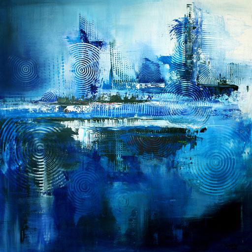 32 Handgemaltes Unikat abstrakt - Deep View - blau silber grau