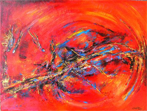 220 Verkaufte abstrakte Malerei - Weltraumbummel rot orange blau
