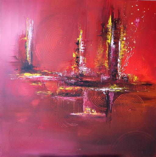 207 Verkaufte abstrakte Malerei - Vulkanstadt gemalt
