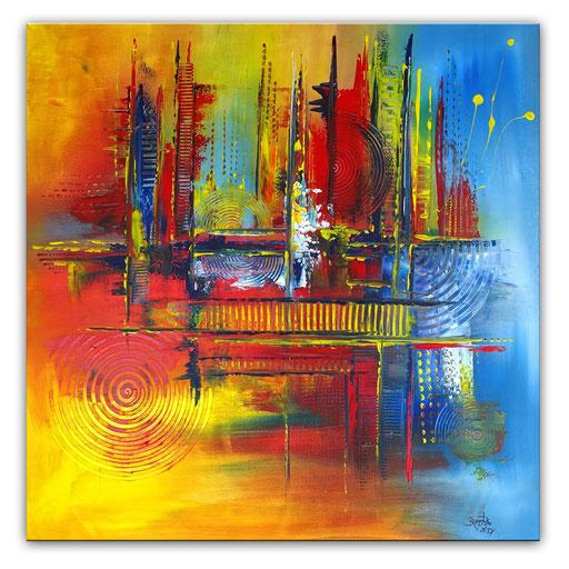 258 Verkaufte abstrakte Malerei gelb rot blau quadratisch