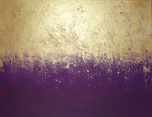 73 abstraktes Unikat handgefertigt - Gold Lila - lila gold