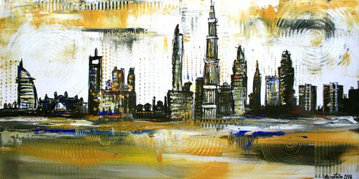 S 66 - Malerei Bild Wandbild Dubai Skyline abstrakt