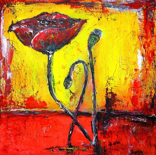 B 54 - Blumen Malerei Blumengemälde handgemalt Mohnblume gelb rot abstakt 40x40