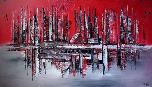 263 Verkaufte abstrakte Malerei silber grau rot xxl bild querformat